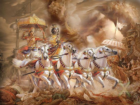 An artist's rendition of a scene from Bhagwad Gita