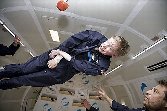 Picture of Stephen Hawking taking a 'zero gravity' float without his wheelchair