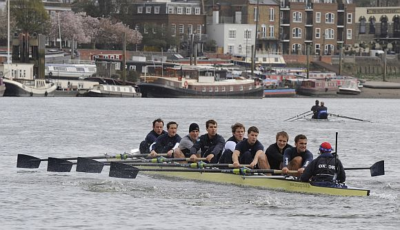 File picture of Oxford University rowing team training on the River Thames in west London