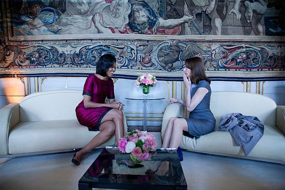 File photo of First Lady Michelle Obama with Carla Bruni-Sarkozy