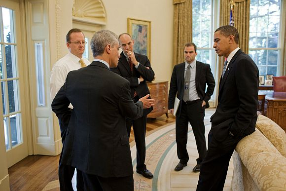File photo shows President Barack Obama with former Chief of Staff Rahm Emanuel, Press Secretary Robert Gibbs, Assistant to the President for Legislative Affairs Phil Schiliro, and Deputy National Security Advisor for Strategic Communications Ben Rhodes