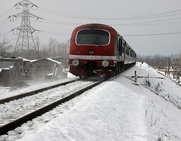 Rail services resumed in Kashmir on Sunday even after power was restorted in a few areas