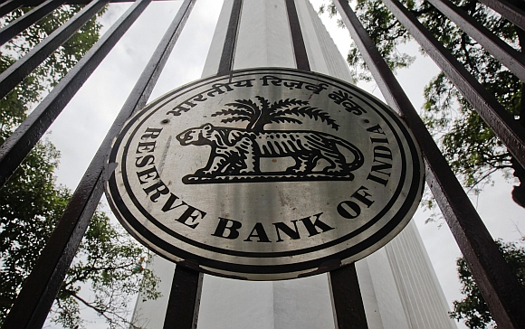 The Reserve Bank of India logo is pictured outside its head office in Mumbai.