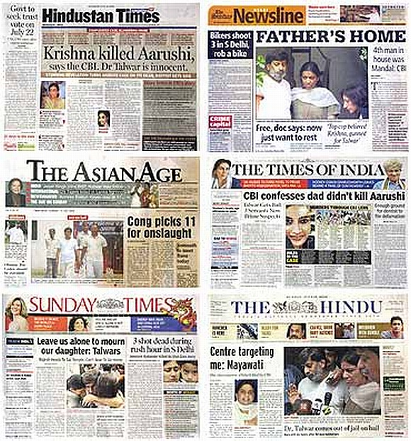 A collage of leading newspapers covering the Aarushi case