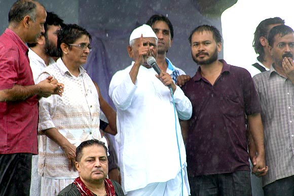 Lokpal Bill crusader Anna Hazare with his team in Mumbai