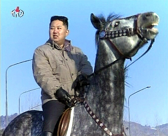 New leader of North Korea, Kim Jong-un, rides a horse in this undated still image taken from video