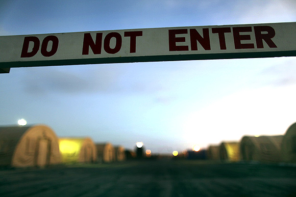 A sign marks a closed-off area, at Camp Justice, the location of the US Military Commissions court for war crimes, at Guantanamo Bay