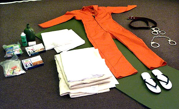 Items which are given to detainees are displayed at the US naval base at Guantanamo Bay