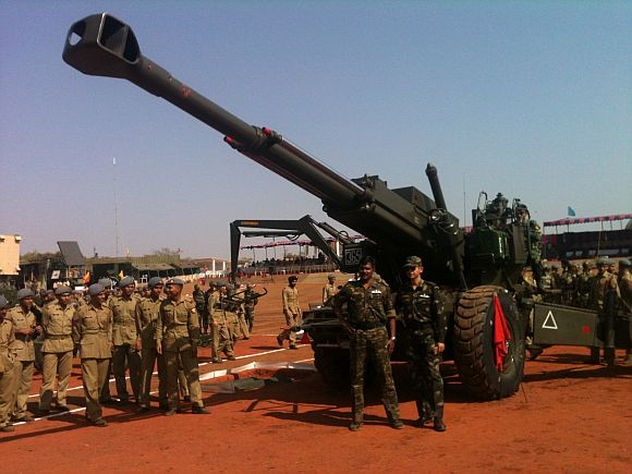 Bofors howitzer at Exercise Topchi in the artillery range, Deolali