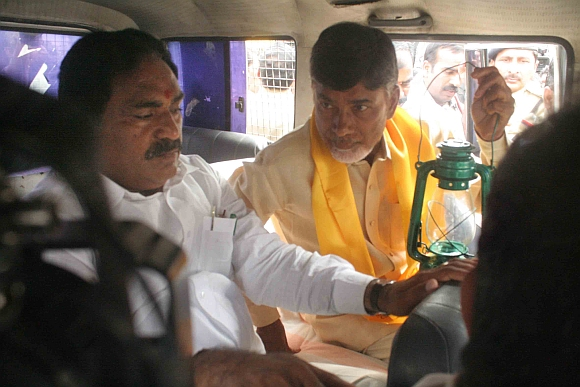 Telugu Desam Party president N Chandrababu Naidu with an MLA