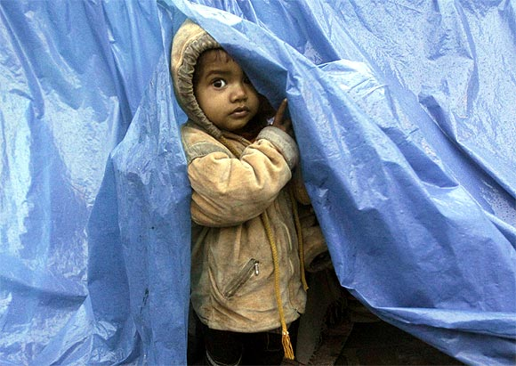 A child looks out from his shelter made of tarpaulin at a pavement on a cold winter morning in Noida on the outskirts of New Delhi