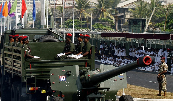 Sri Lankan army artillery gun is displayed during a rehearsal for the Independence Day celebration in Colombo