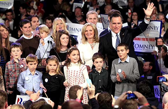 Republican presidential candidate and former Massachusetts Governor Mitt Romney at his New Hampshire primary night rally in Manchester, New Hampshire