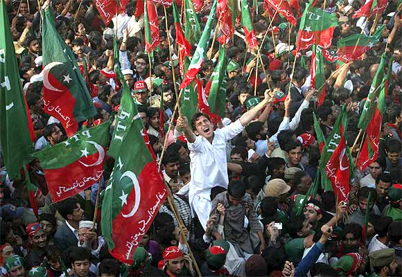 A rally organised by Tehreek-e-Insaf members