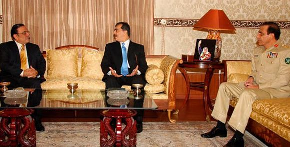 A file photo of Pakistan President Asif Ali Zardari, Prime Minister Yusuf Raza Gilani and Pakistan Army chief General Ashfaq Parvez Kayani