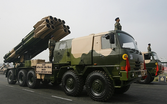 Multiple launch rocket system Smerch is displayed during the Army Day parade in New Delhi January 15.