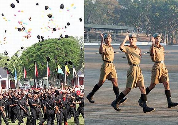 Newly commissioned officers at IMA; NDA cadets at Khadakvasla