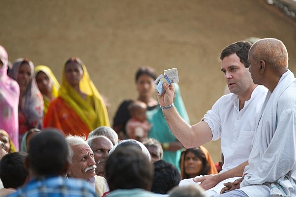 Rahul addressing a gathering in UP