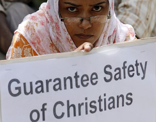 File photo of a demonstration seeking safety for Christians