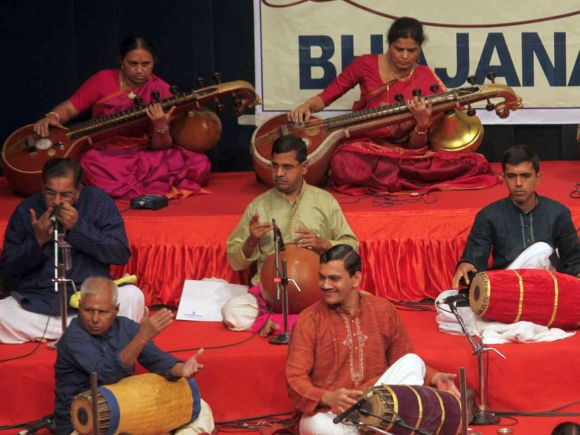 Musicians perform at Shanmukhananda auditorium on Thyagaraja Aradhana day