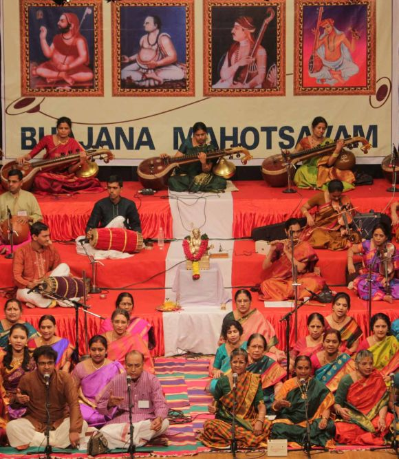 Works of saint Thyagaraja being performed at Shanmukhananda auditorium on Thyagaraja Aradhana day