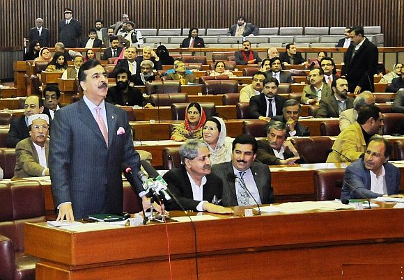 Gilani addressing the National Assembly on Monday