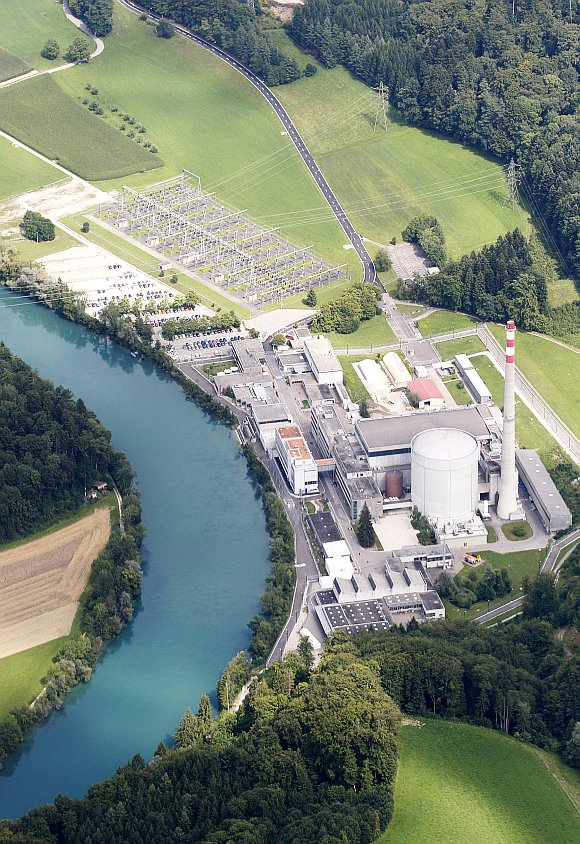 A general aerial shows the Swiss nuclear power plant Muehleberg of Swiss energy company BKW in Muehleberg