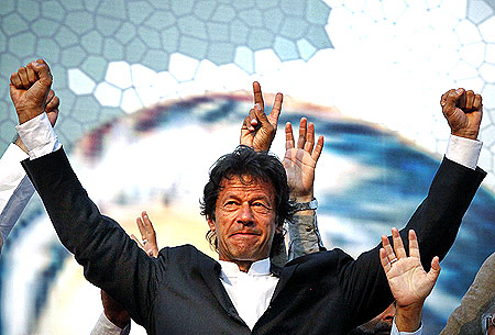 Imran Khan at a political rally organised by his party, the Pakistan Tehrik-e-Insaf in Lahore