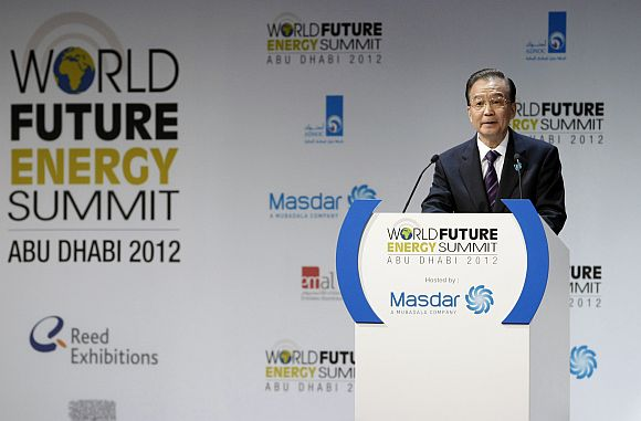 China's Premier Wen Jiabao speaks during the opening ceremony of the World Future Energy Summit in Abu Dhabi earlier this week