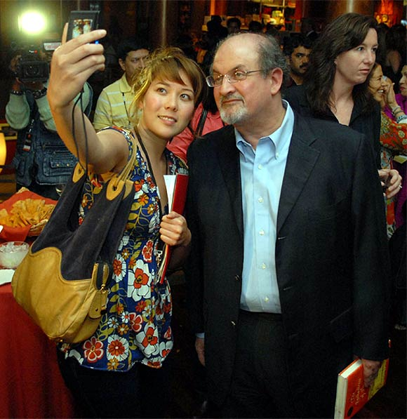 Salman Rushdie at an event for his book The Enchantress of Florence at the Rubin Museum of Art in New York.