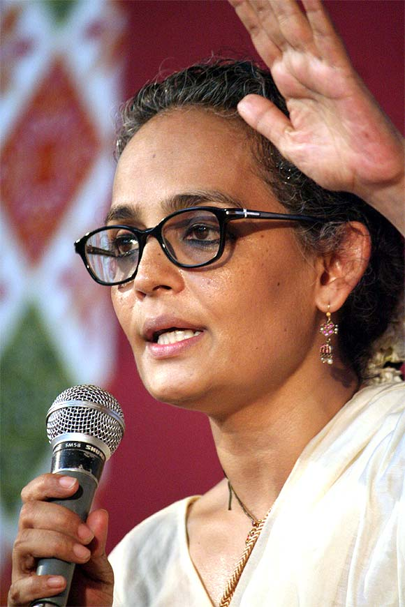 Writer-activist Arundhati Roy at a meeting organised by the Committee for the Protection of Democratic Rights in Mumbai