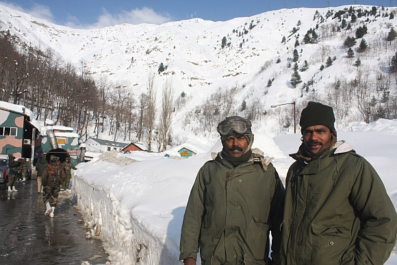 Army troops near the highway