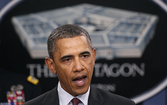 US President Barack Obama speaks about the Defence Strategic Review at the Pentagon in Washington on Jan 5