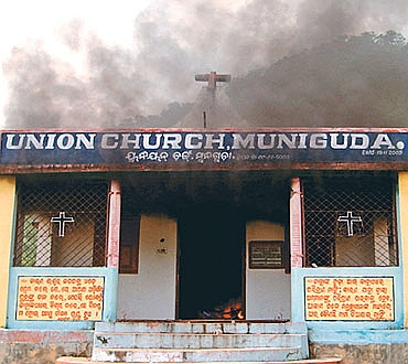 A church set on fire in Odisha