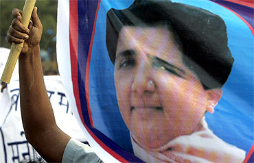 Uttar Pradesh Chief Minister Mayawati on a Bahujan Samaj Party flag
