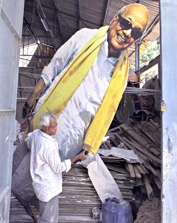 A cut-out of DMK chief M Karunanidhi in Chennai