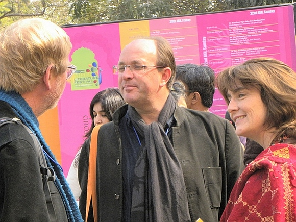 Author William Dalrymple (c)  at the Jaipur Literature Festival