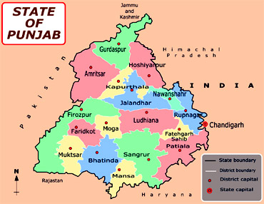 A map of Punjab