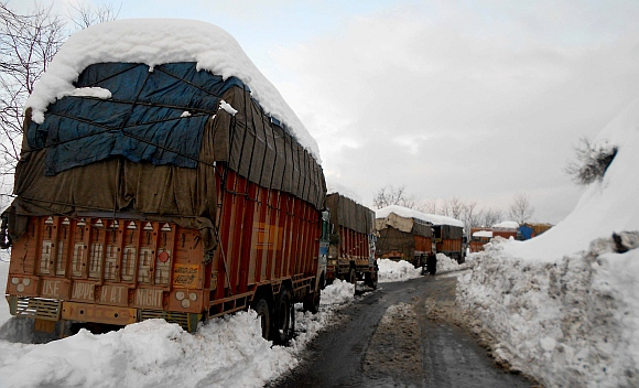 Stranded goods trucks near Jawahar Tunnel