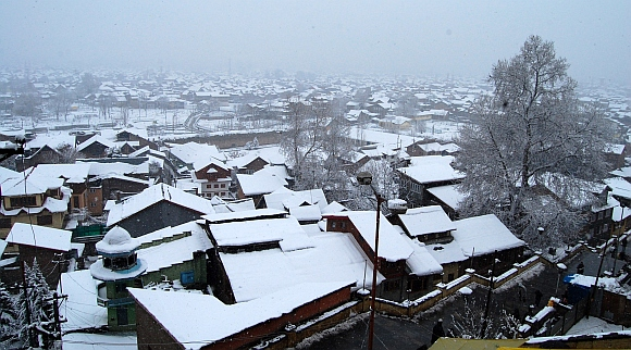 An aerial view of Srinagar