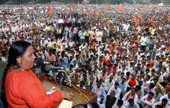 File picture of Uma Bharti addressing a rally in Bhopal