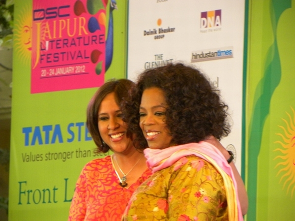 Oprah Winfrey with Barkha Dutt at the Jaipur Lit Fest on Sunday