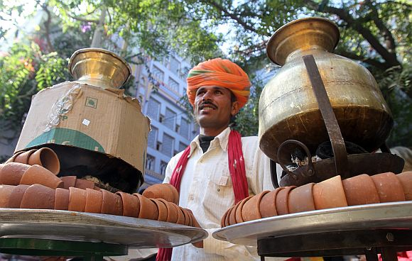A vendor serving tea at the venue of annual Literature Festival in Jaipur