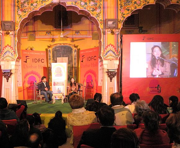 Tahmima Anam speaks during a session at the Jaipur Literature Festival on Monday