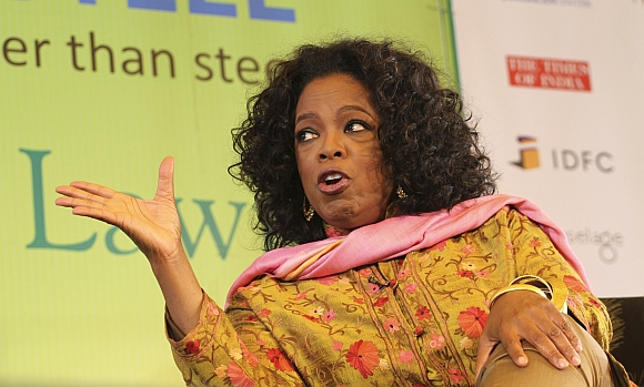 Oprah Winfrey speaks at the Literature Festival in Jaipur