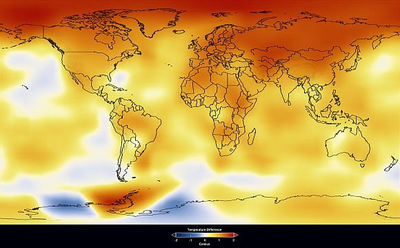 This colour-coded interpretation of the GISS data was produced by NASA's Goddard Scientific Visualisation Studio as part of a long-term progression of changing global surface temperature anomalies, from 1881 to 2009. This frame represents global temperature anomalies averaged from 1999 to 2009. Dark red indicates the greatest warming and dark blue indicates the greatest cooling