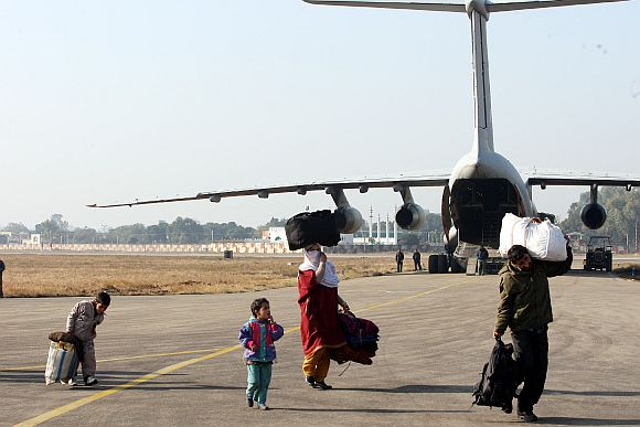 A Kashmiri family at the Jammu air base