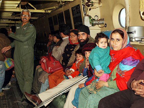 Rescued civilians inside the IAF AN-32 aircraft