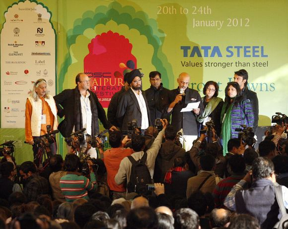 Organisers announce the cancellation of a televised speech by Salman Rushdie at the annual Literature Festival in Jaipur, on Tuesday