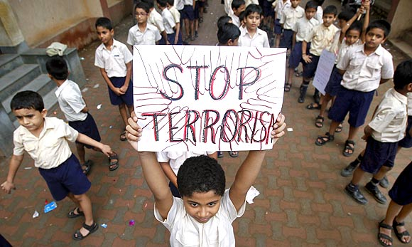 Students at a march for peace in Mumbai